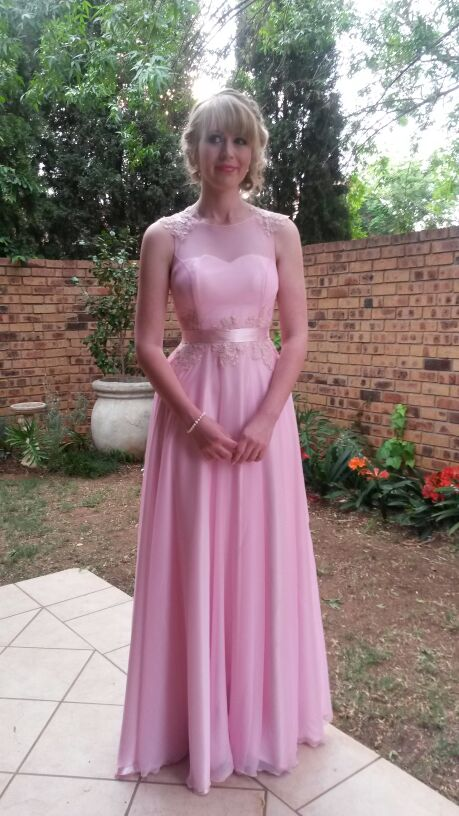 Soft pink matric farewell dress with lace detail